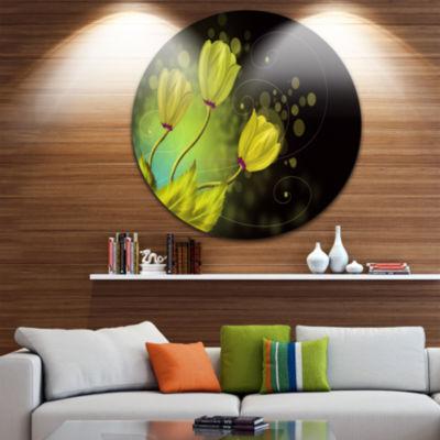 Design Art Golden Flowers Greeting Card Floral Circle Metal Wall Art