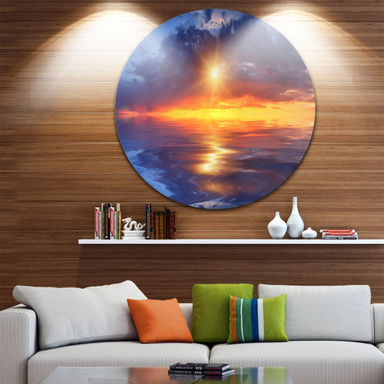 Design Art Cloudy Sunset Reflection in Lake Cityscape Circle Metal Wall Art