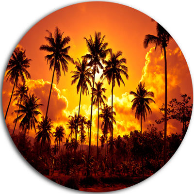 Design Art Coconut Palms Against Yellow Sky Landscape Photography Circle Metal Wall Art