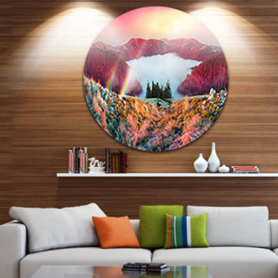 Design Art Colorful Beach Forest in Carpathians Landscape Photography Circle Metal Wall Art