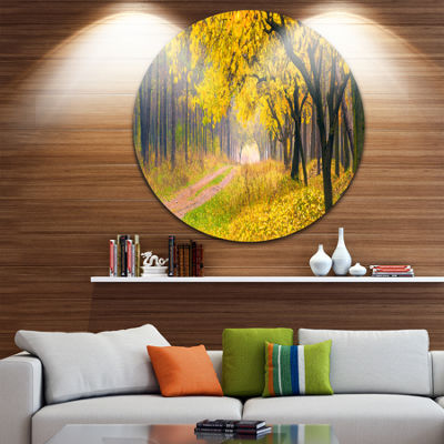 Design Art Bright Yellow Autumn Forest Landscape Photo Circle Metal Wall Art