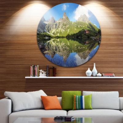 Design Art Green Lake in Tatra Mountain LandscapePhoto Circle Metal Wall Art