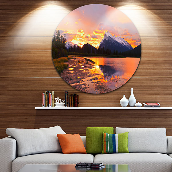 Design Art Sunset Above Vermilion Lakes LandscapePhotography Circle Metal Wall Art