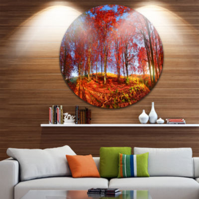 Design Art Red Autumn Forest in Carpathians Landscape Photography Circle Metal Wall Art