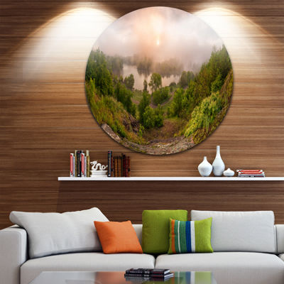 Design Art Rising Above the River Mist Landscape Photo Circle Metal Wall Art