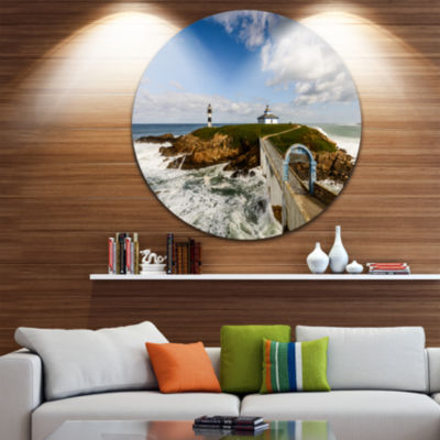 Design Art Bright Illa Pancha Lighthouse SeashorePhoto Circle Metal Wall Art