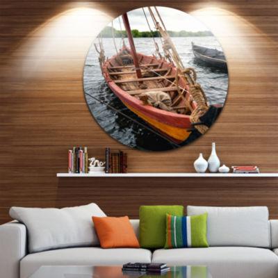 Design Art Vintage Wooden Boat Ultra Vibrant Seascape Metal Circle Wall Art