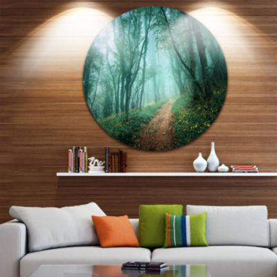 Design Art Light Green Mystical Fall Forest CircleLandscape Circle Metal Wall Art