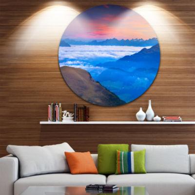 Design Art Summer Sunrise in Italian Alps Landscape Photo Circle Metal Wall Art