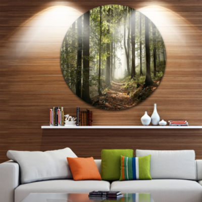 Design Art Green Fall Forest with Sun Rays Landscape Photography Circle Metal Wall Art