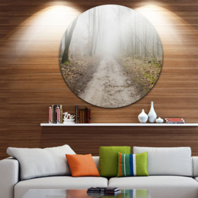 Design Art Straight Forest Road in Fall Circle Landscape Circle Metal Wall Art