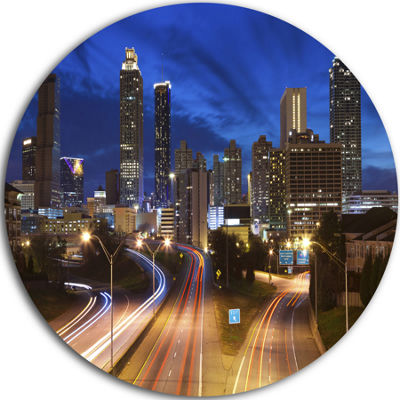 Design Art Atlanta Skyline Twilight Blue Hour Ultra Vibrant Cityscape Metal Circle Wall Art