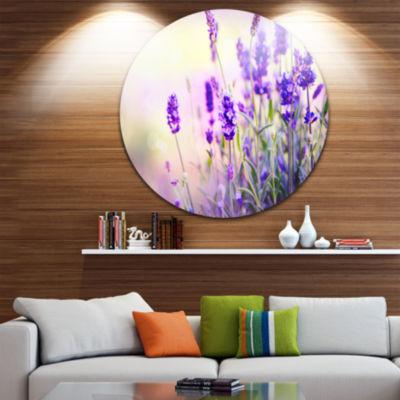Design Art Purple Lavender Field Floral Photography Circle Metal Wall Art
