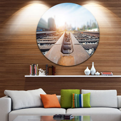 Design Art Cargo Train Platform with Container Landscape Photography Circle Metal Wall Art