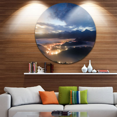 Design Art Blue Cloudy Summer Sunrise Landscape Photo Circle Metal Wall Art