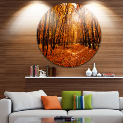 Design Art Yellow Falling Leaves in Forest Landscape Photo Circle Metal Wall Art