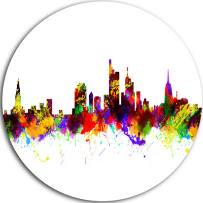 Design Art Frankfurt Germany Skyline Cityscape Circle Metal Wall Art