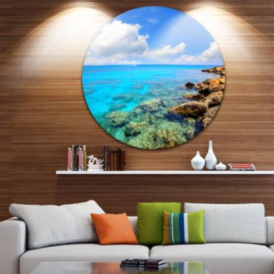 Design Art Bright Summer Day in Sea Ultra VibrantSeascape Metal Circle Wall Art