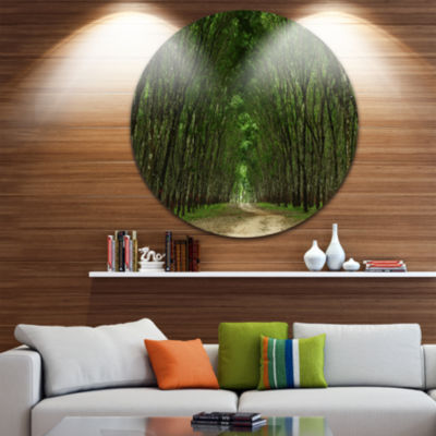 Design Art Pathway in Thick Green Forest LandscapePhotography Circle Metal Wall Art