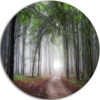 Design Art Light Through Green Fall Forest CircleLandscape Circle Metal Wall Art