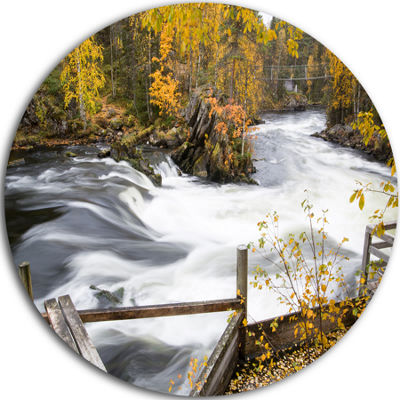 Design Art Fall River Over Riffles and Rocks Circle Landscape Circle Metal Wall Art
