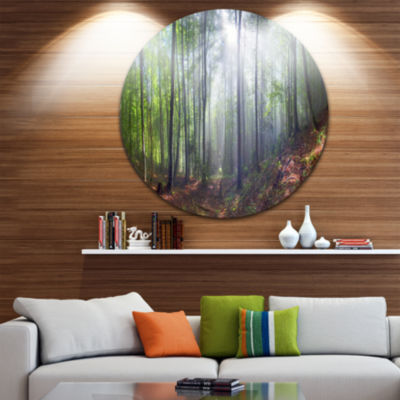 Design Art Morning Sun Rays in Carpathian Landscape Oversized Circle Wall Art