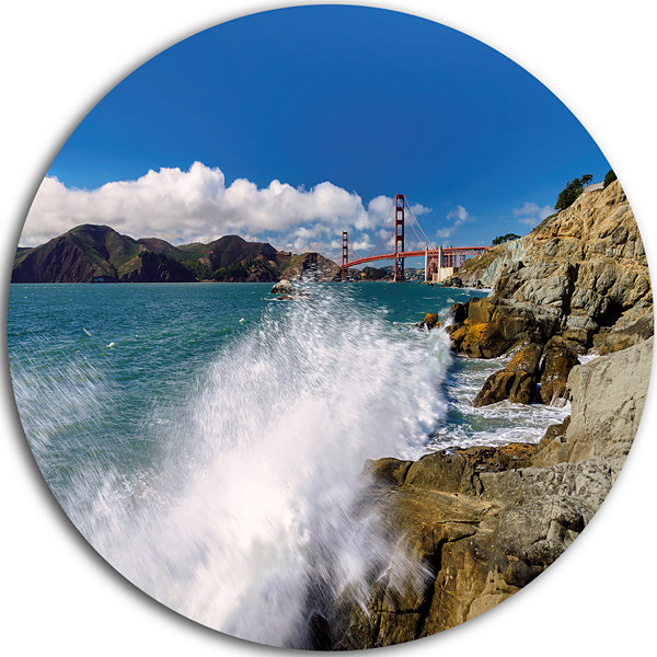 Design Art Golden Gate Bridge in San Francisco Ultra Vibrant Large Seashore Metal Circle Wall Art
