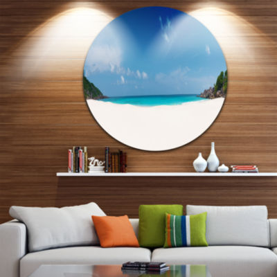 Design Art Petite Anse Beach La Digue Island UltraVibrant Seascape Metal Circle Wall Art