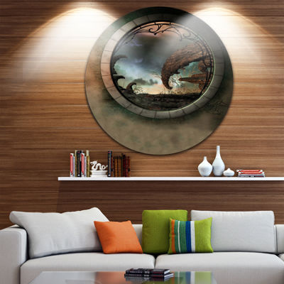 Design Art Blue Fantasy Landscape with Frame Photography Circle Metal Wall Art