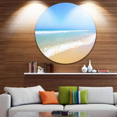 Design Art Sun Over Tropical Beach Seashore PhotoCircle Metal Wall Art