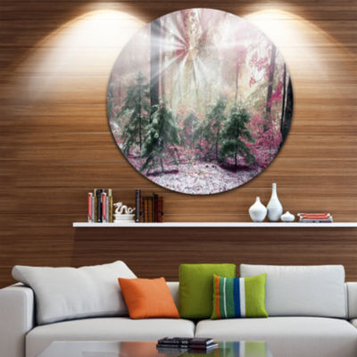 Design Art Purple Forest with Sun Rays Landscape Oversized Circle Wall Art