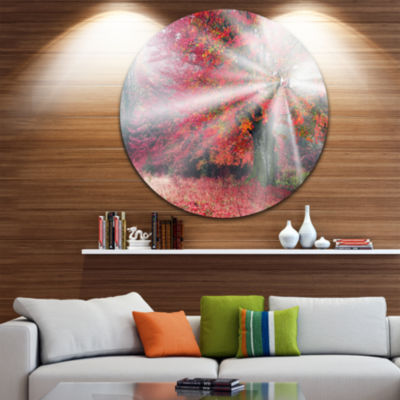 Design Art Mystical Light in Red Fall Forest Landscape Oversized Circle Wall Art