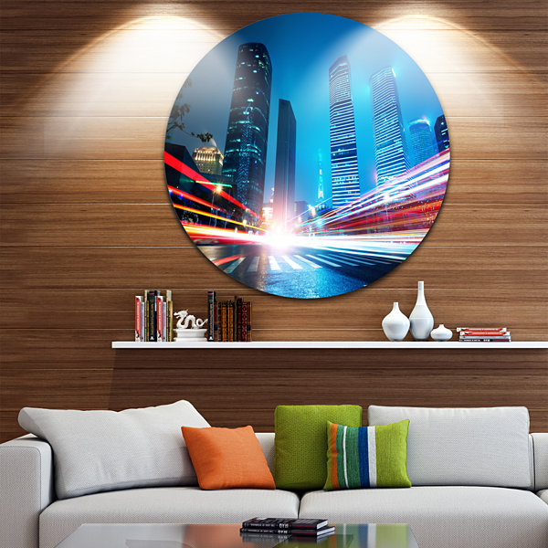 Design Art Shanghai Lujiazui Finance at Night Ultra Vibrant Cityscape Metal Circle Wall Art