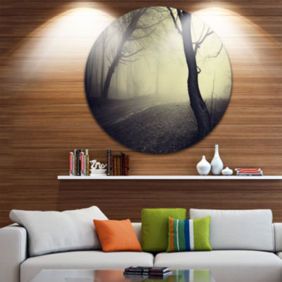 Design Art Old Looking Fall Forest Shoot Circle Landscape Circle Metal Wall Art