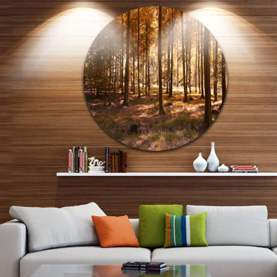 Design Art Thick Fall Forest with Orange Leaves Circle Landscape Circle Metal Wall Art