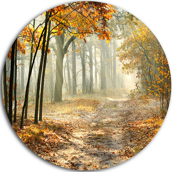 Design Art Bright Yellow Fall Morning Circle Landscape Circle Metal Wall Art
