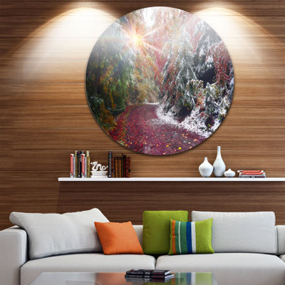 Design Art Breathtaking View of Aline Forest Landscape Oversized Circle Wall Art