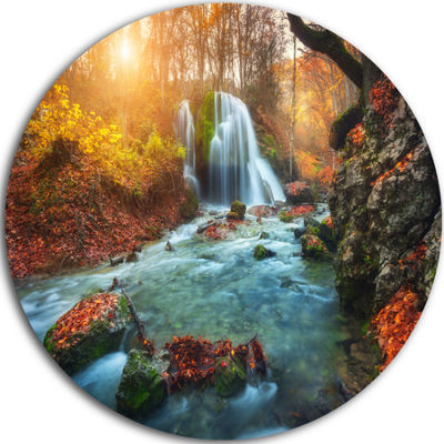 Design Art Fast Flowing Fall River in Forest Circle Landscape Circle Metal Wall Art