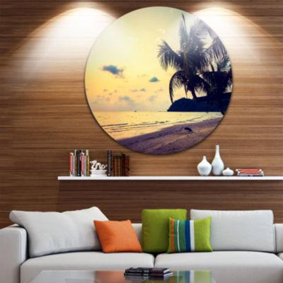 Design Art Silhouette Coconut Tree Ultra Vibrant Seascape Metal Circle Wall Art