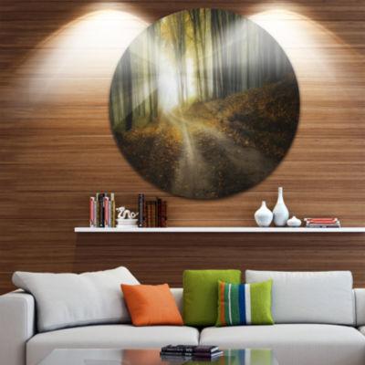 Design Art Bright Sun Rays in Colorful Fall CircleLandscape Circle Metal Wall Art