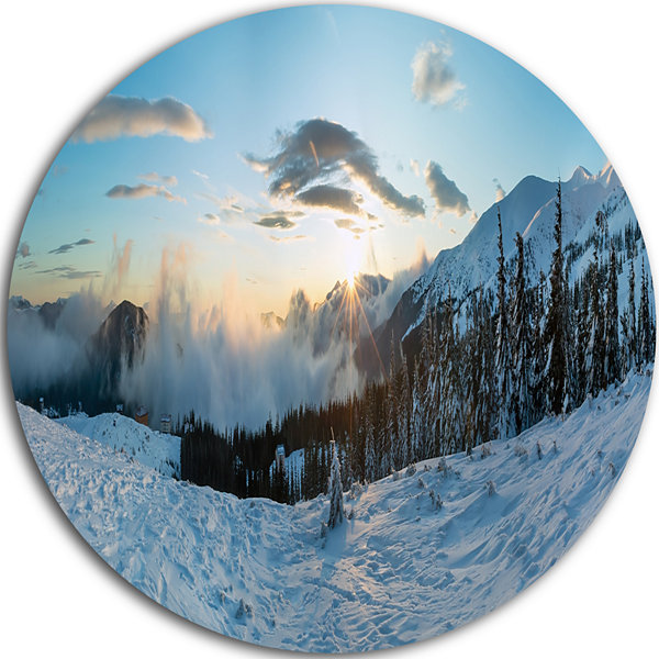 Design Art Morning Winter Carpathian Mountains Ultra Vibrant Landscape Metal Circle Wall Art