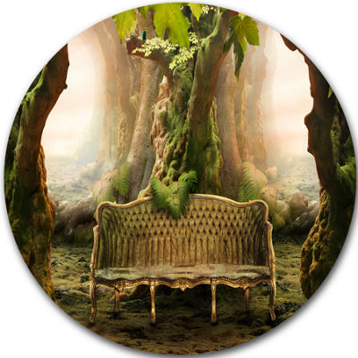 Design Art Romantic Seat in Deep Forest LandscapePhotography Circle Metal Wall Art