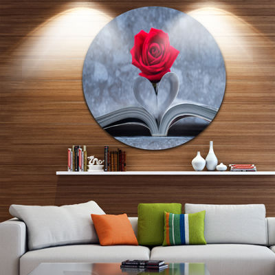 Design Art Red Rose Inside the Book Floral CircleMetal Wall Art