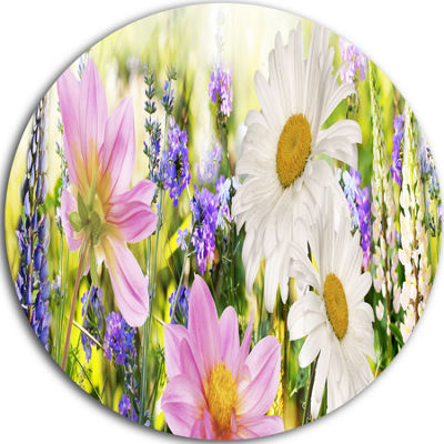 Design Art Wild Flowers Field at Sunset Floral Photography Circle Metal Wall Art