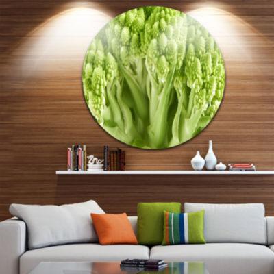 Design Art Fresh Green Romanesco Florets Floral Circle Metal Wall Art