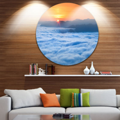 Design Art Sunrise Over Misty Sea Waters LandscapePhotography Circle Metal Wall Art