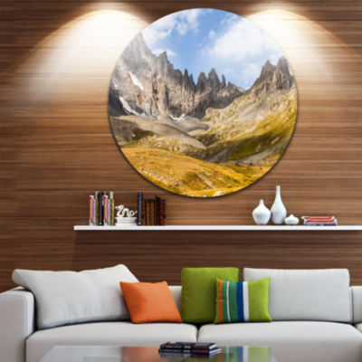 Design Art Hills and Valleys in Golden Morning Landscape Photography Circle Metal Wall Art