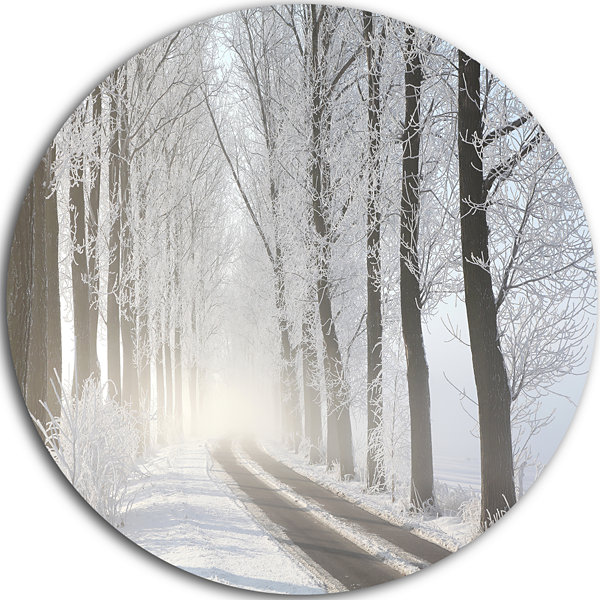 Design Art Winter Lane in Foggy Morning LandscapePhoto Circle Metal Wall Art