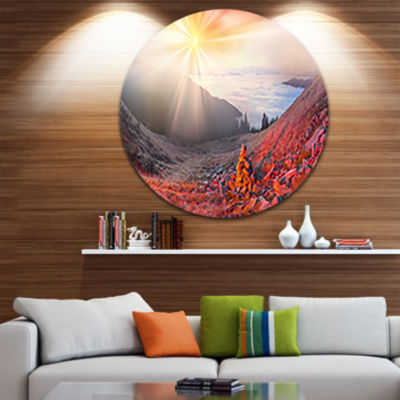 Design Art Red Beach Forest in Carpathians Landscape Photography Circle Metal Wall Art