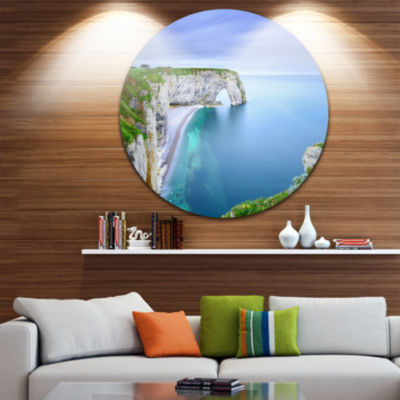 Design Art Manneporte Natural Rock Arch Seashore Photo Circle Metal Wall Art